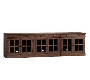 Livingston Large Long Low Media Suite, Brown Wash - Pottery Barn