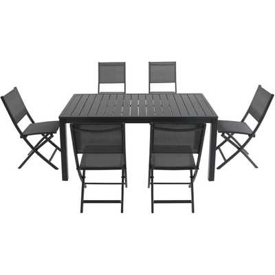Cambridge Naples 7-Piece Aluminum Outdoor Dining Set with 6-Sling Folding Chairs in Gray and 78 in. x 40 in. Dining Table - Home Depot
