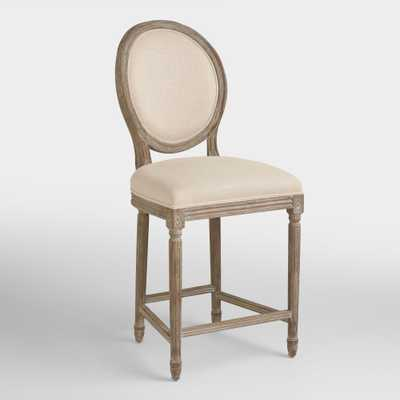 Natural Beige Linen Paige Counter Stool by World Market - World Market/Cost Plus