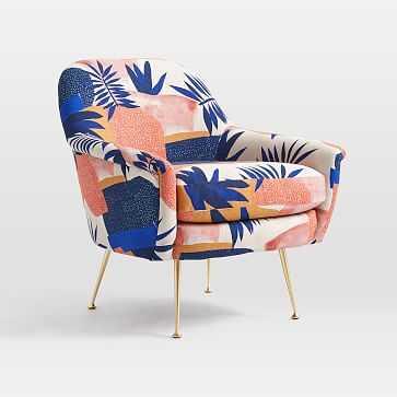 Phoebe Midcentury Chair, Poly, Botanic Collage, Landscape Blue Multi, Brass - West Elm