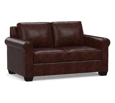 York Roll Arm Leather Loveseat, Down Blend Wrapped Cushions, Legacy Tobacco - Pottery Barn