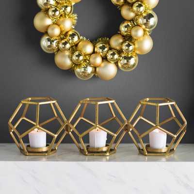 Wayde Sparkling Gold Metal Votive - AllModern