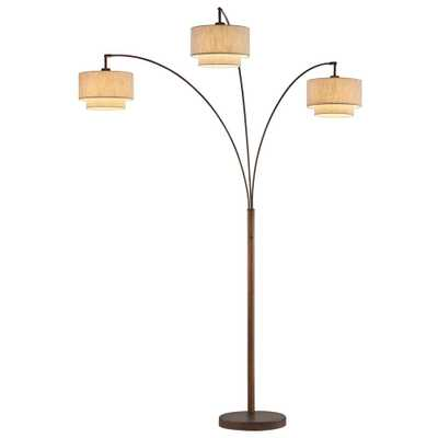 ARTIVA Lumiere III 80 in. Antique Bronze LED Arc Floor Lamp/Double Shade - Home Depot