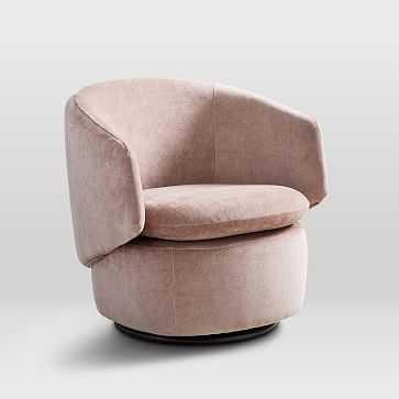 Crescent Swivel Chair, Performance Velvet, Light Pink - West Elm