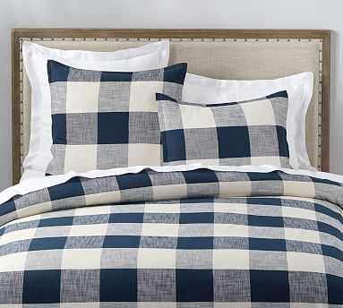 Bryce Buffalo Check Duvet Cover, Full/Queen, Navy - Pottery Barn