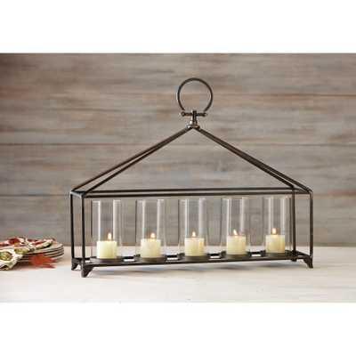 Bradbury Antique Bronze Iron and Glass Candle Holder - Home Depot