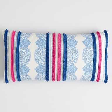 "Lilly Pulitzer Lumbar Move It Or Lose It Pillow, 12""x24"", Ikat Blue - Pottery Barn Teen"
