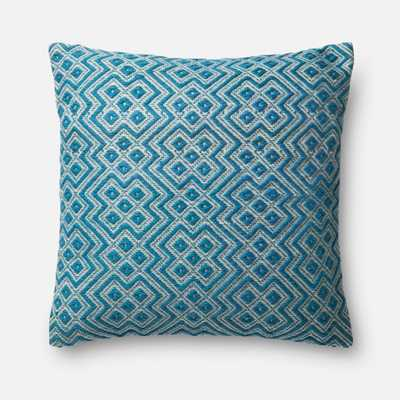 """PILLOWS - TEAL / WHITE - 22"""" X 22"""" Cover Only - Loma Threads"""