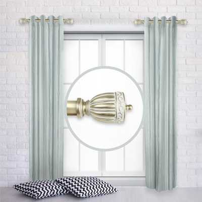 Rod Desyne Debussy 12 in. - 20 in. L Adjustable 1 in. Dia Single Side Window Curtain Rod in Light Gold (Set of 2) - Home Depot