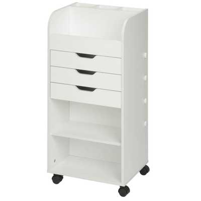 Craft Storage Cart with 3 Drawers, White - Home Depot