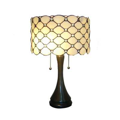 Warehouse of Tiffany 24 in. Antique Bronze Modern Stained Glass Table Lamp with Pull Chain - Home Depot
