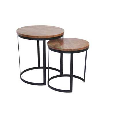 Voguish Wood Natural Finish Round Iron Nesting Table (Set of 2), Brown - Home Depot