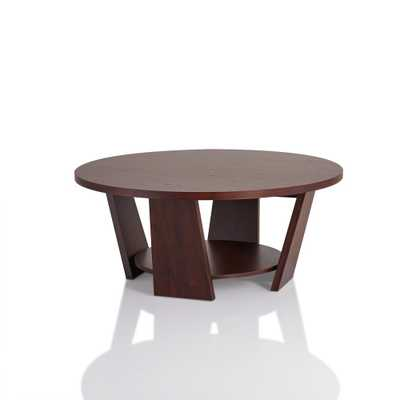 Algar Vintage Walnut Round Coffee Table - Home Depot
