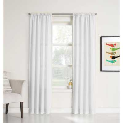 LICHTENBERG Sheer White No. 918 Millennial Ryan Heathered Texture Sheer Curtain Panel, 40 in. W x 95 in. L - Home Depot