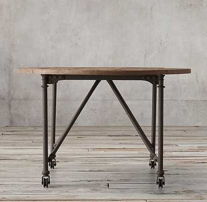 FLATIRON ROUND DINING TABLE-Reclaimed Natural Elm & Rust Metal - RH