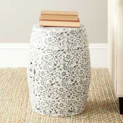 Safavieh Flower and Vine White and Charcoal Ceramic Patio Stool - Home Depot