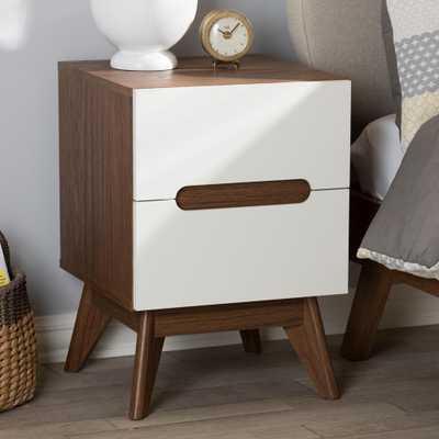 """Calypso 2-Drawer White Nightstand, White/""""walnut"""" Brown - Home Depot"""