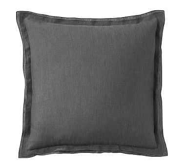 "Belgian Flax Linen Flange Pillow Cover, 18"", Ebony - Pottery Barn"