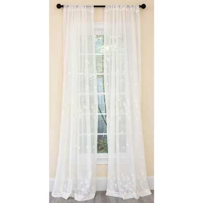 Manor Luxe Blossom Embroidered Sheer Single Rod Pocket Curtain Panel in White - 54 in. x 120 in. - Home Depot
