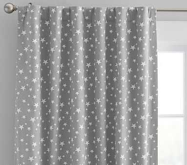 "Star Printed Blackout Panel, 96"", Gray - Pottery Barn Kids"