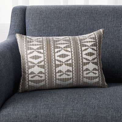 """Vercillo Grey Patterned Pillow with Feather-Down Insert 18""""x12"""" - Crate and Barrel"""