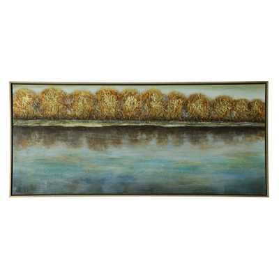 32 Trees Along The Shoreline Hand Painted Stretched Canvas Decorative Wall Art - StyleCraft, Multi-Colored - Target