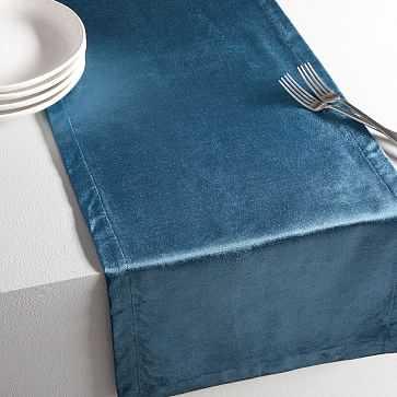 Luster Velvet Solid Runner, Regal Blue - West Elm