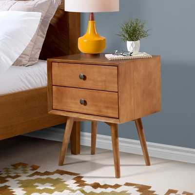 Walker Edison Furniture Company Mid Century Modern Contemporary Transitional 2-Drawer Solid Wood Caramel Night Stand - Home Depot