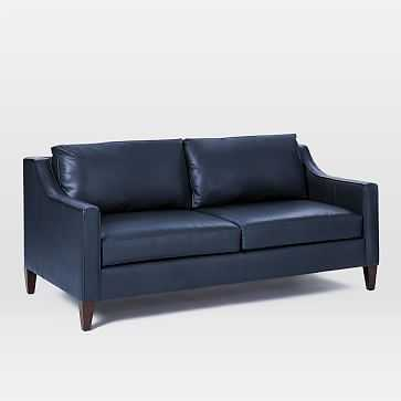 Paidge Sofa, Sauvage Leather, Navy, Poly, Taper Pecan - West Elm