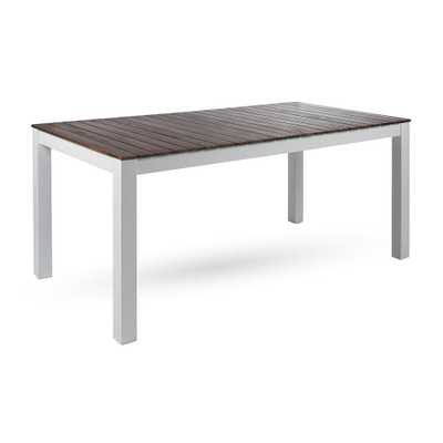 Noble House Jillian Pu White Rectangular Wood Outdoor Dining Table - Home Depot