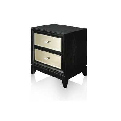 Furniture of America Janelle 2-Drawer Black/Gold Nightstand - Home Depot