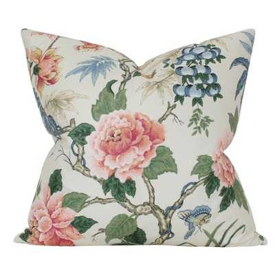 Anshun Paprika and Blue - 11x17 pillow cover (lumbar) / pattern on front, solid on back - Arianna Belle