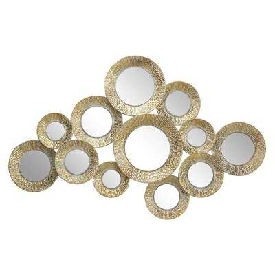 "Oakwood Large Metallic Gold Pierced Metal Round Wall Mirrors Cluster with Textural Pattern, 50"" x 33 - Wayfair"