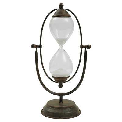 """Decorative Metal and Glass Hour Glass (7-3-4""""L x 14-1-2""""H), Multi-Colored - Target"""