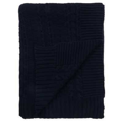A1 Home Collections Cable Knit 50 in. x 70 in. Navy Organic Cotton Oversized Throw Blanket, Blue - Home Depot
