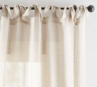"Belgian Flax Linen Sheer Tie-Top Drape, 50 x 96"", Flax - Pottery Barn"