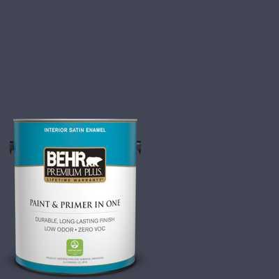 BEHR Premium Plus 1 gal. #PPU15-19 Black Sapphire Satin Enamel Zero VOC Interior Paint and Primer in One - Home Depot