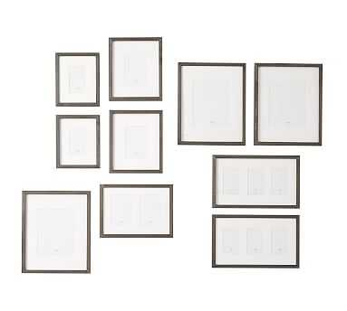 Wood Gallery in a Box Frames, Graywash - Set of 10 - Pottery Barn
