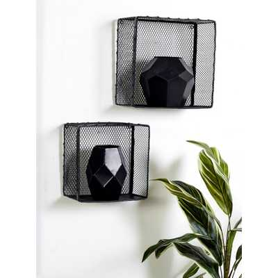 Square Iron Wire Frame Wall Baskets (Set of 3) - Home Depot