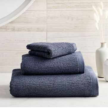 Organic Textured Towel, Set of 3, Granite Blue - West Elm