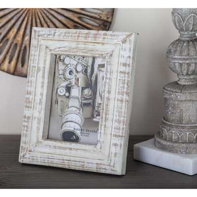 5 in. x 7 in. White Wooden Picture Frame, Distressed White - Home Depot