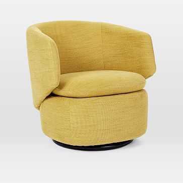 Crescent Swivel Chair, Basket Slub, Dark Horseradish - West Elm