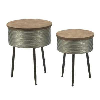 Brown and Silver Storage End Tables, Tin Frames With Stained Wood Tops - Home Depot