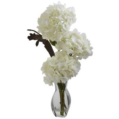 Triple Hydrangea with Vase - Home Depot