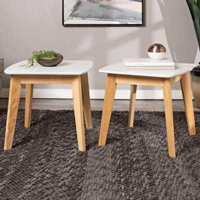 Retro Modern White and Natural Wood End Table Set of 2 - Style # 24W90 - Lamps Plus