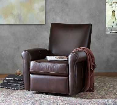 Grayson Leather Recliner, Polyester Wrapped Cushions, Legacy Tobacco - Pottery Barn