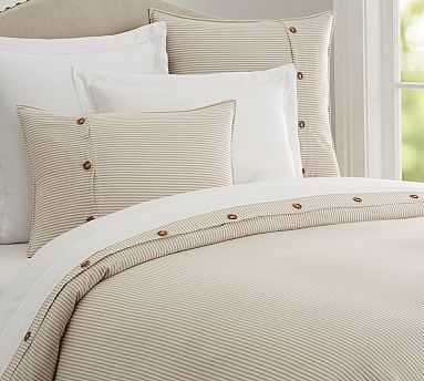 Wheaton Stripe Duvet Cover, Full/Queen, Flax - Pottery Barn