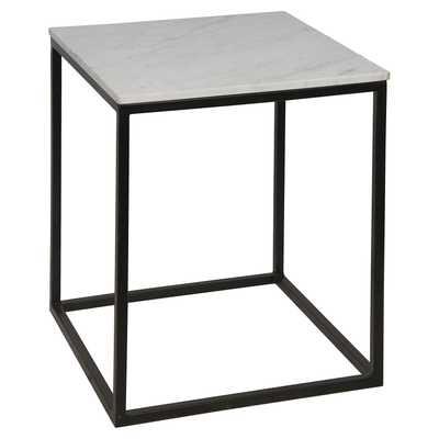 Owen Industrial Loft Square White Quartz Black Metal Large Side End Table - Kathy Kuo Home