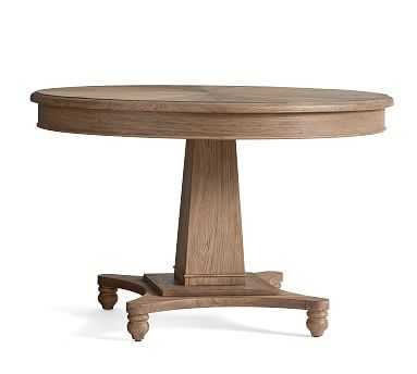 Roma Pedestal Table, Weathered Elm - Pottery Barn