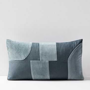"""Pieced Cotton Velvet Pillow Cover, Blue Stone, 12""""x21"""" - West Elm"""
